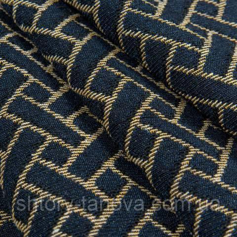 Гобелен ткань, геометрия, тёмно-синий