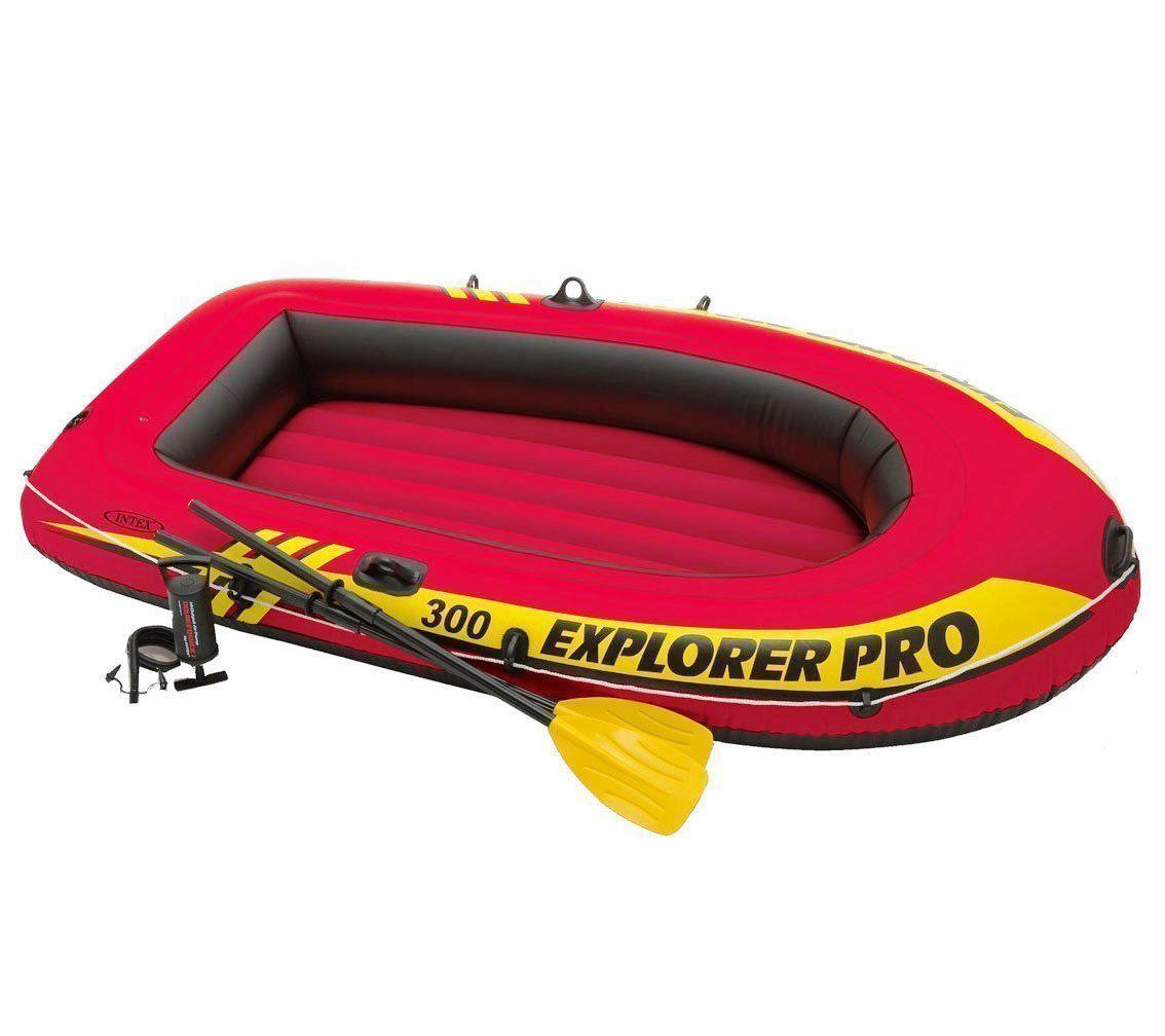 Полутораместная надувная лодка Intex 58358 Explorer Pro 300 Set 244 х 117 х 36 см с веслами и насосом 3