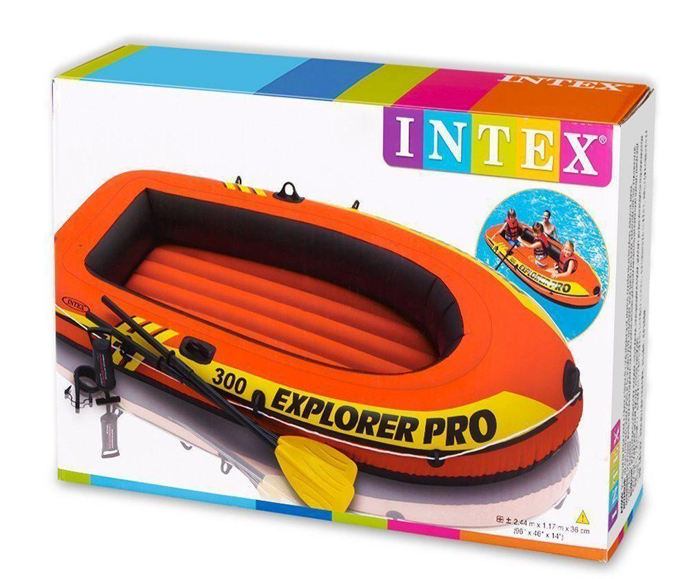 Полутораместная надувная лодка Intex 58358 Explorer Pro 300 Set 244 х 117 х 36 см с веслами и насосом 4