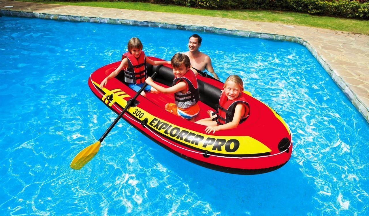 Полутораместная надувная лодка Intex 58358 Explorer Pro 300 Set 244 х 117 х 36 см с веслами и насосом