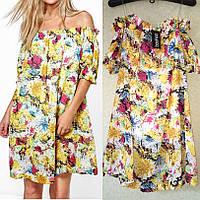 Легкое Шифоновое Платье с Открытыми Плечами бренд Boohoo оригинал, Размер M/L