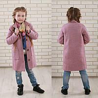 """Пальто для девочки """"Букле"""" шерсть на подкладке весна-осень р122-146 см"""
