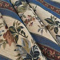 Гобелен ткань, цветочный принт с полосками
