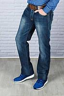 Мужские джинсы утепленные синие с ремнем