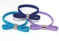 Резиночки для волос с бантиком и стразами цветные 30 шт/уп