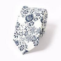 Мужская мода Цветочная печатная хлопковая галстук Белый