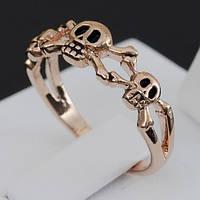 Кольцо с черепами, покрытое золотом 0708