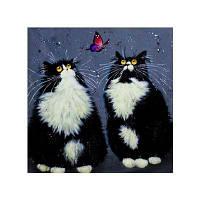 Naiyue 7129 Черная персидская кошка Print Draw Diamond Drawing черно-белый