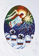 Открытка с канвой, паспарту и мулине K-17: Рождественский ангел