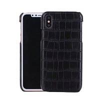 Для iPhone X Крокодил зерна Жесткий обложка Деловой телефон Защитный чехол Чёрный