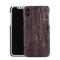 Для iPhone X Ретро древесины зерна жесткой задней обложки Деловой телефон Защитный чехол Чёрный