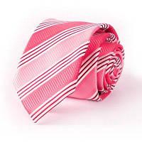 Жаккардовый галстук из натурального полиэстера розово-красный