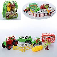 Ферма 851A-056-855A-188B (72шт) транспорт сприцепом--инерц, животные,в рюкзаке, 2вида, 16-19-6см