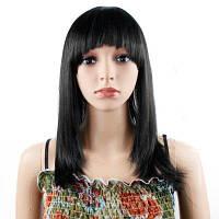 16-дюймовый синтетический парик с прямыми волосами с плоскими взрывами Natural Black 16дюймов