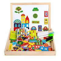 Магнитные головоломки Технические образовательные деревянные игрушки для детей Двусторонняя доска чертежей дерево