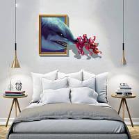 Творческий 3D Подводка мобилизации фона стены стикеры синий в полоску