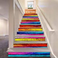 Цветные деревянные доски Pattern Style Stair Sticker Wall Decor LTT027 18см x 100см x 6 шт.