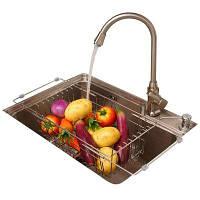 ORZ Kitchen Drainer Сушильная корзина Нержавеющая сталь Регулируемая раковина Drainer Rack Фрукты Овощной мойки 42cм x 22cм x 13.9cм