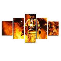 Современные картины на холсте, изготовленные из натурального камня Fireman без рамки Разноцветный