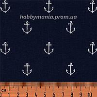 Ткань с якорями, хлопок 100%. Цвет темно-синий. Морская тематика. В синем море