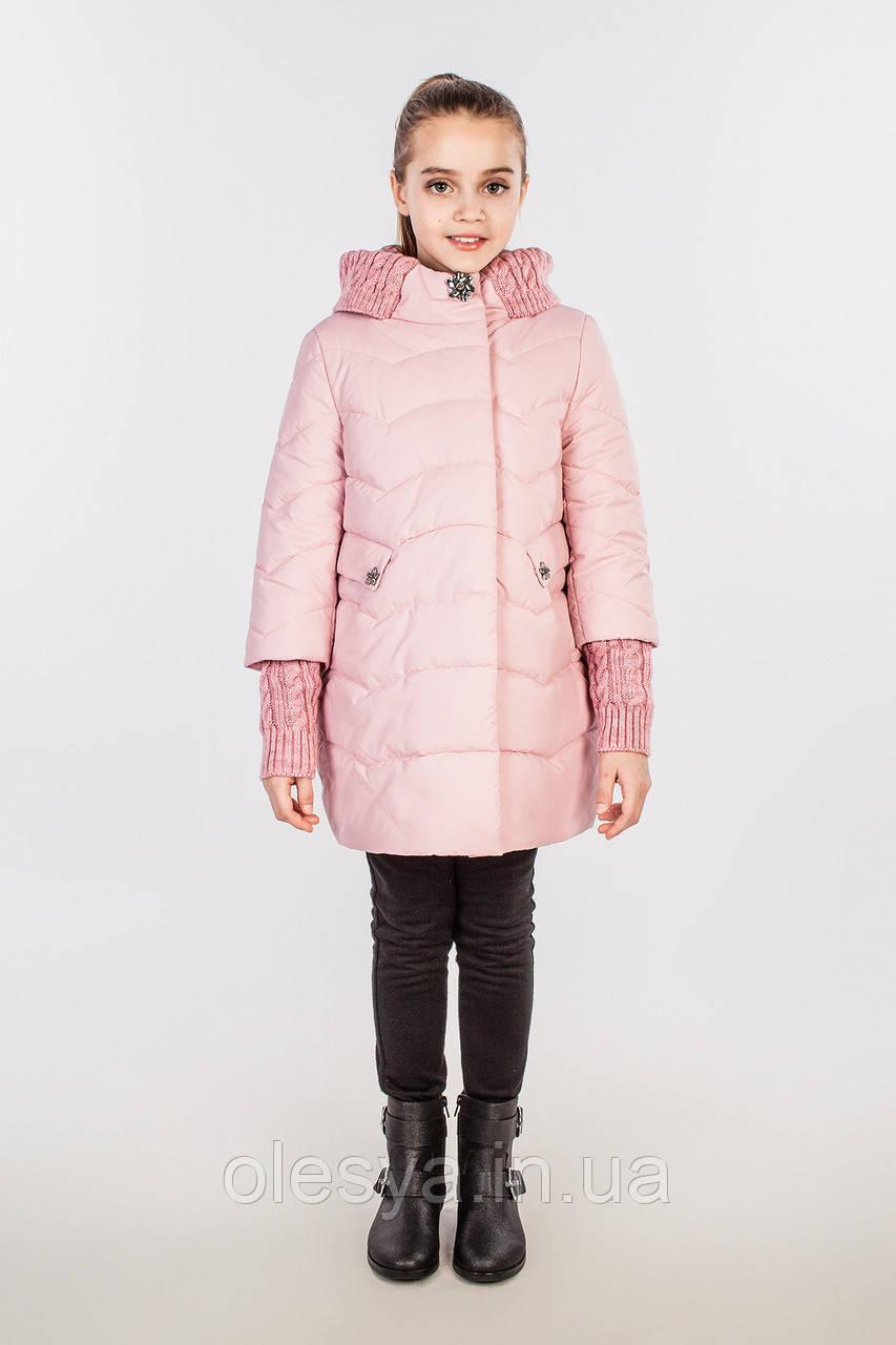 Куртка пальто на девочку плащевка Канада на силиконе, Лия Размеры 128 134