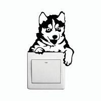 DSU Creative Husky Dog наклейка для выключателя ламп Смешной картон животные виниловые наклейки для стены 13 x 11 cм