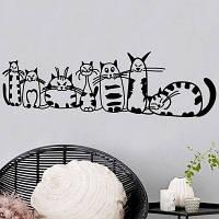 Смазливая наклейка для комнат детей кошка для декора комнат Vinyl Decal Чёрный