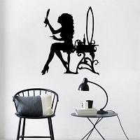 Стикеры в стиле совершения туалета девушки для украшения комнат девочек Чёрный