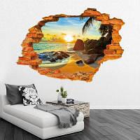 Beach Sunshine Tree Leaves Полноцветный стикер стены Красивый морской пейзаж Наклейки на стены Домашний декор 60 х 90 см