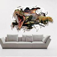 Открытый рот страшный динозавр серии наклейки стены 3D животные наклейки для стены для детей для детской комнаты Домашнее украшение 60 х 90 см