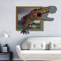 8002C Динозавры через фоторамку Стикеры стены 3D мультфильм Животные Наклейки для детей Детская комната