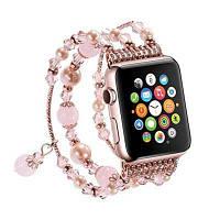Эластичный браслет для ремней из натурального камня из натурального камня для Apple Watch Series 3/2/1 All Version42mm Розовый