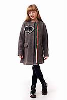 Детское пальто для девочки с оригинальным декором в стиле Шанель, темно-серого цвета