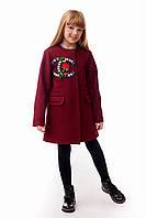Изысканное детское пальто для девочки в стиле Коко Шанель бордового цвета