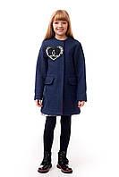 Детское пальто для девочки с оригинальным декором в стиле Шанель, синего цвета