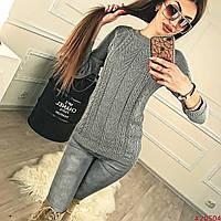 Вязанный однотонный женский свитер с принтом Код:501273859