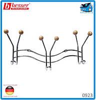 Вешалка Besser 0923 хромированная с 3 тройными крючками 21.5*3.5*9.5см с силиконовыми наконечниками
