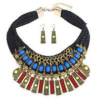 Заявление ожерелье и серьги вязания крючком Чёрный