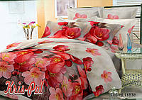 Комплект постельного белья красные цветы 5д недорого