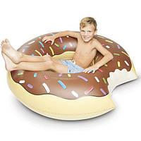 Надувной круг 120 см шоколадный Надкушенный Пончик