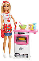 Игровой набор кукла Барби Кондитер повар Блондинка Barbie Bakery Chef Doll and Playset Blonde FHP57, фото 1