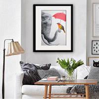 Каркасная картинка Специальная конструкция Слоны и птицы Печать 20 x 14 дюймов (50cм x 35cм)
