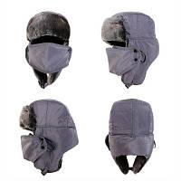 Меховая шапка для холодной погоды Унисекс Серый