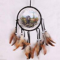 Ловец снов Висячие украшения винтаж с натуральными перами Ручная работа Перо Домашнее украшение Чёрный