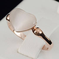 """Стильное кольцо """"Сердце"""", покрытое слоями золота 0709"""