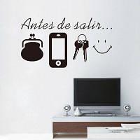Стикер телефон ключ Кошелек с Испанским языком и улыбкой виниловые наклейки для стены Домашний и внешний Декор 22 X 13cм