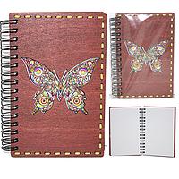 95400-06 Блокнот с гравировкой Бабочка Цветная+Вышивка 95*144мм,50листов\линия
