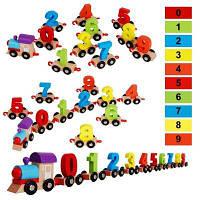 Дети строительные блоки Деревянные цифровой поезд головоломка собраны красочный небольшой поезд раннего образования игрушки подарок для малышей
