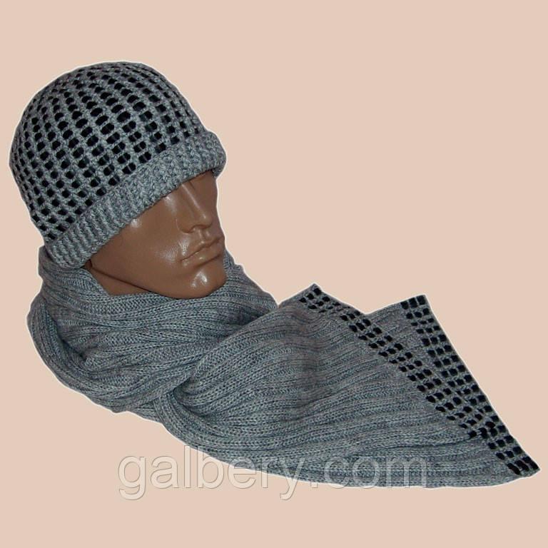Мужская вязаная шапка и шарф светло - серого цвета c элементами кожи
