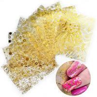 XM DIY Nails наклейка с золотым тиснением Художественные наклейки 8PCS Золотой